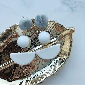 Jewelry - Half Moon Shaped Marble Drop Earrings White